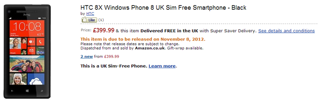 Amazon UK снизила цену на HTC Windows Phone 8X